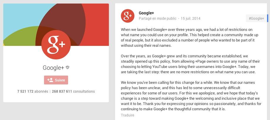 Google Plus : le réseau social tolère l'utilisation du pseudo