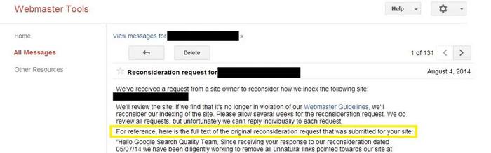 Les demandes de reconsidération archivées dans Google Webmaster Tools