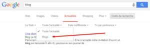 Recherche de blogs dans Google Actualités