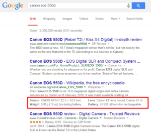 Structured Snippets Google