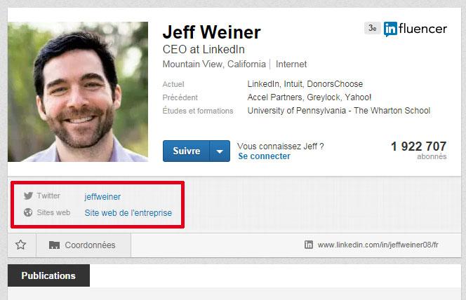Coordonnées dans LinkedIn (liens externes)