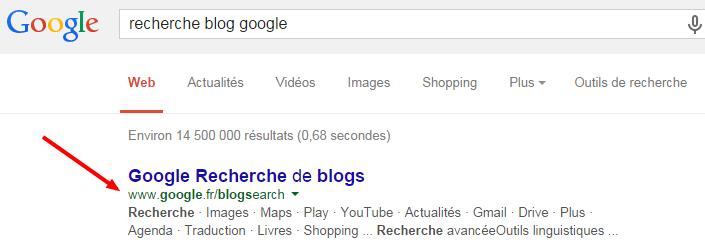 Recherche de blogs dans Google