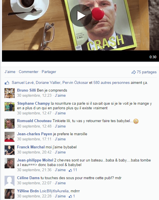 Post Facebook de la marque Babybel France