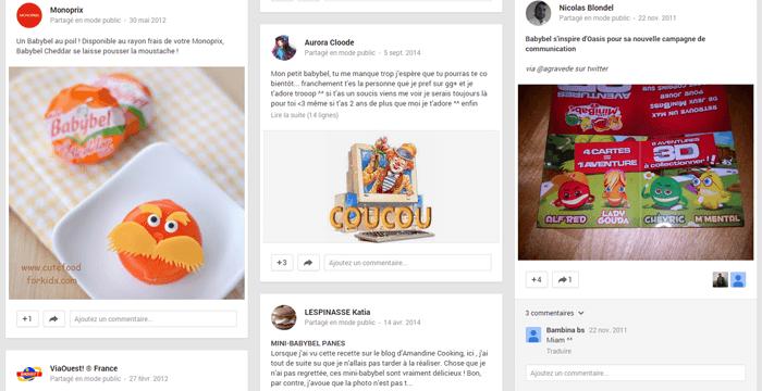Résultats de recherche du réseau social Google+