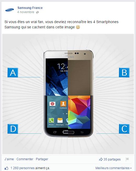 Quizz de Samsung France dans sa page Facebook