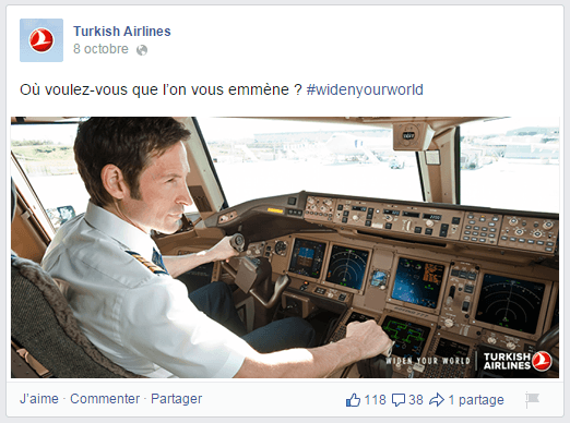 Autre question du community manager dans la page Facebook de Turkish-Airlines
