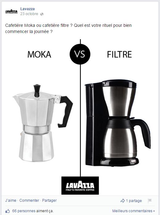 Comparaisons entre la cafetière Moka et la cafetière filtre dans la page Facebook de Lavazza