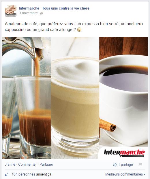 Comparaisons de produits dans la page Facebook d'Intermarché
