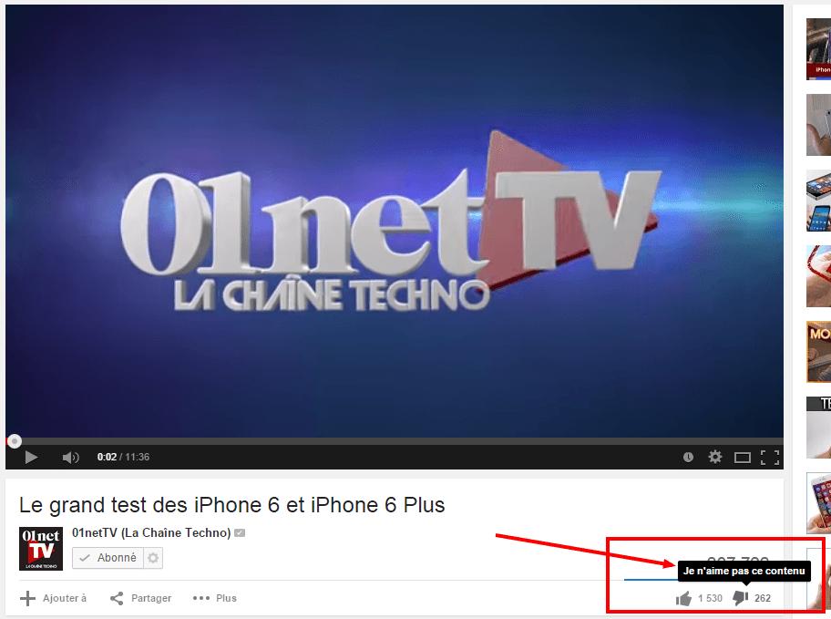 "Bouton ""Je n'aime pas ce contenu"" (youTube)"
