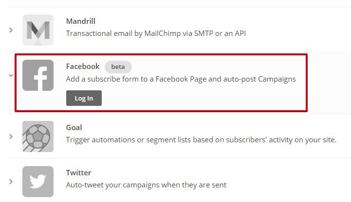 Lier sa page Facebook à son compte MailChimp