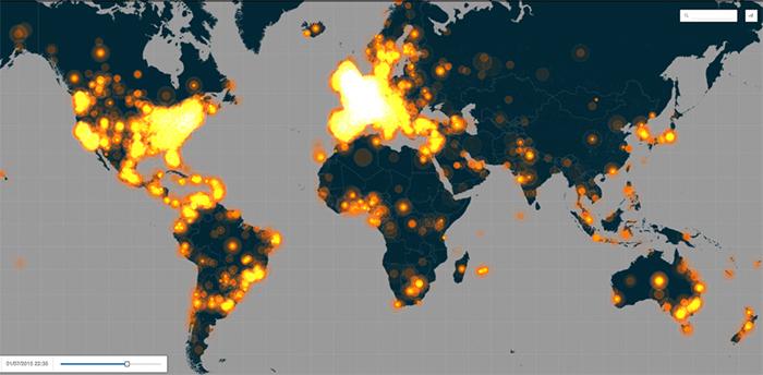 Utilisation du hashtag #JeSuisCharlie dans le monde