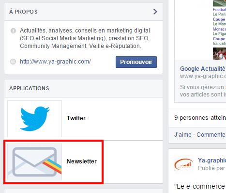 L'icône de MailChimp dans la page Facebook