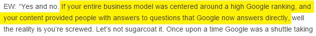 Business model concentré uniquement sur le classement Google.
