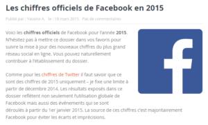 Les chiffres officiels de Facebook en 2015