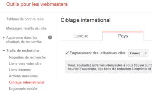 Ciblage international dans Google Webmaster Tools
