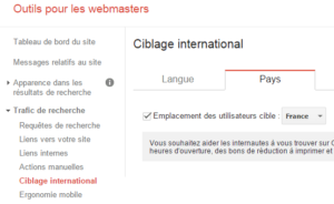 Ciblage international dans Google Webmaster Tools