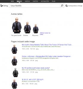 Satya Nadella dans Bing Images