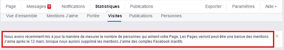 Annonce de Facebook