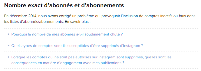 Le message d'Instagram