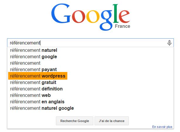 """""""référencement wordpress"""", une suggestion de recherche Google expliquée"""