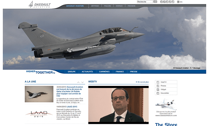Site WordPress de Dassault Aviation