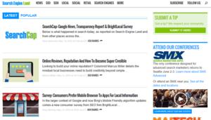 Le site Search Engine Land est créé sous WordPress