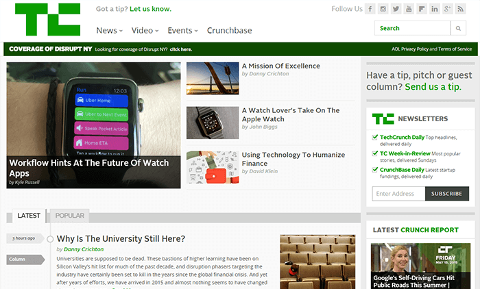 Site WordPress de TechCrunch