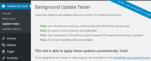 "Le plugin WordPress ""Background Update Tester"""