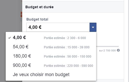 Budget et durée de la publicité Facebook : payer 4 euros