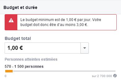 Budget et durée de la publicité Facebook : 1 euro (budget minimum)
