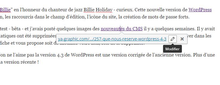 Éditer un lien dans WordPress