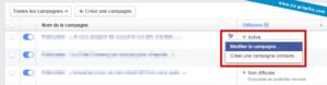 Facebook : Modifier une campagne de publicité en cours