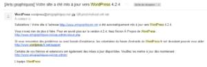 E-mail mise à jour automatique WordPress
