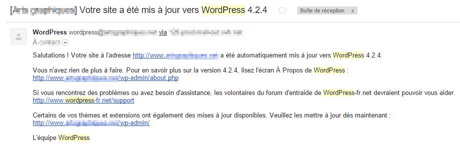 E-mail de WordPress