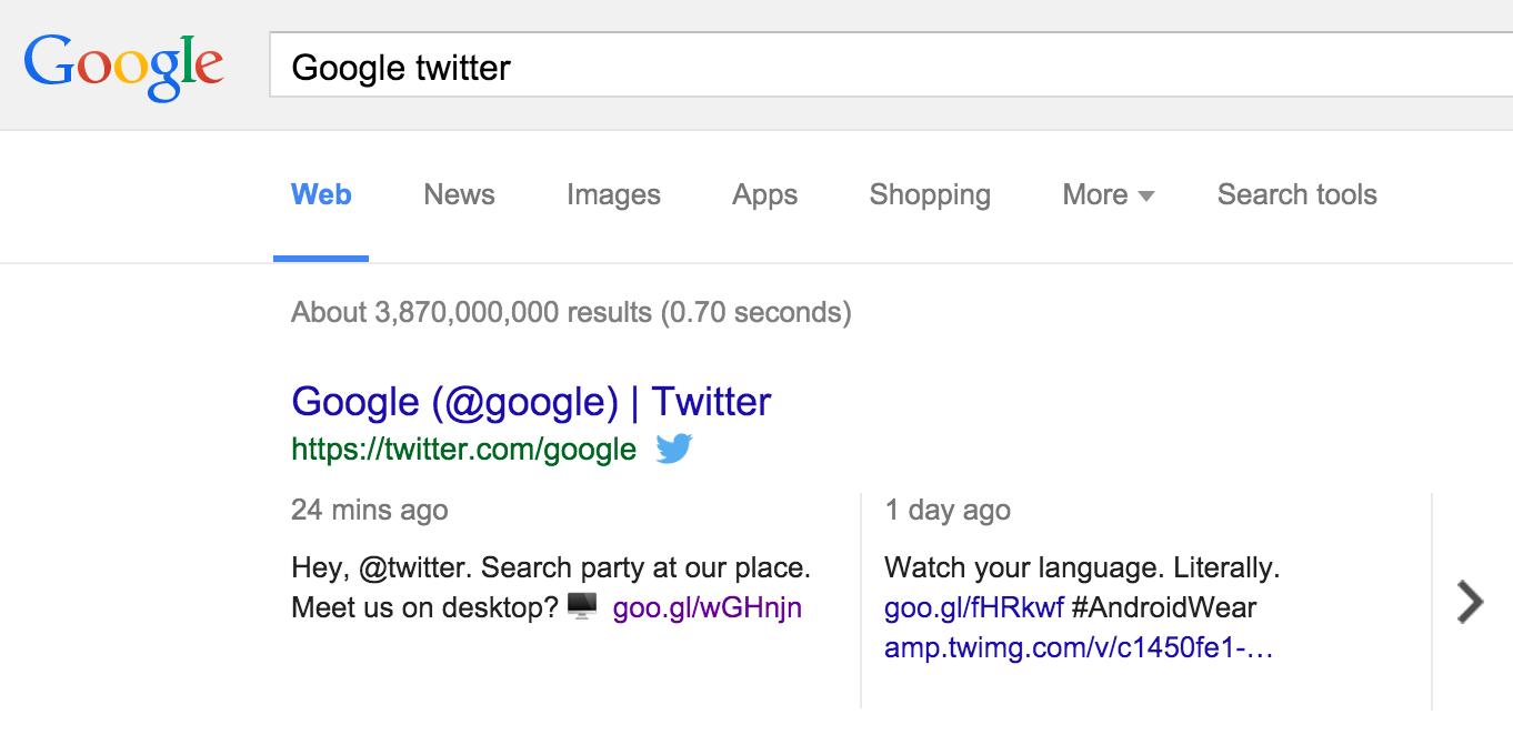 Les tweets introduits dans Google Search