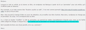 Forum WordPress : question posée par un utilisateur