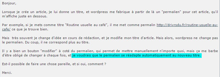 Forum WordPress : la question du permalien posée par un utilisateur
