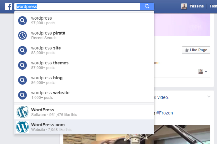 Suggestions Facebook Search FYI