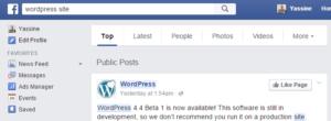 Résultats de recherche de Facebook