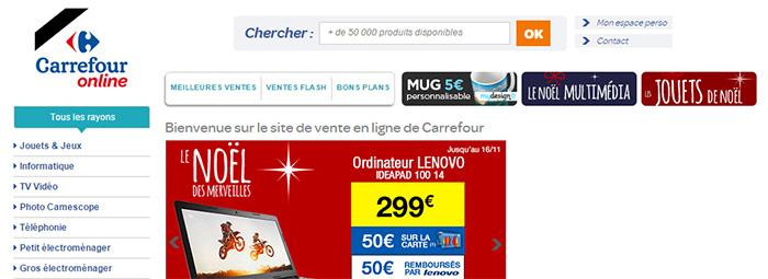 Carrefour affiche le ruban noir dans sa boutique en ligne