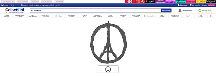 Cdiscount affiche le ruban noir dans sa boutique en ligne