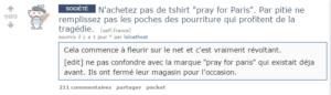 Message d'un membre de Reddit.com au sujet de la marque Pray For Paris