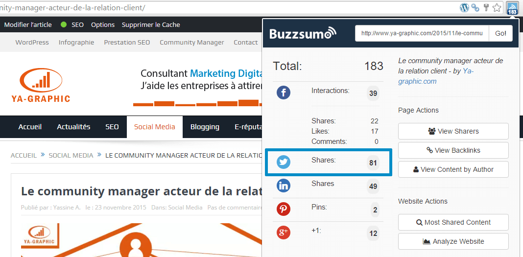 Extension Chrome Buzzsumo - Nombre de partages Twitter