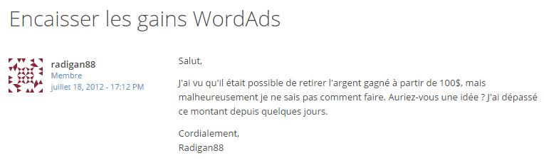 Revenus WordAds