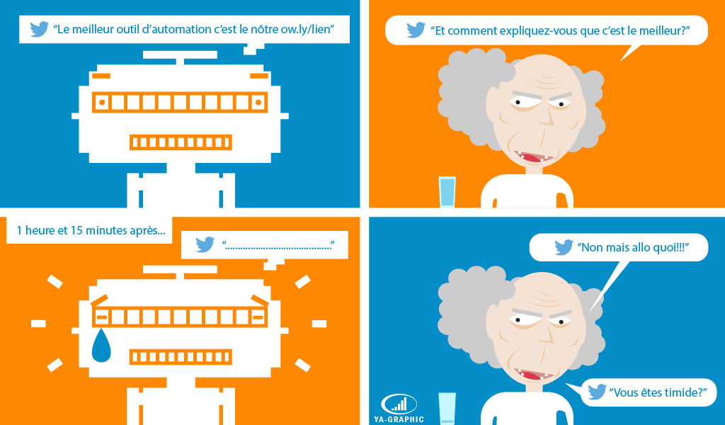 Une conversation entre un robot et un utilisateur dans Twitter