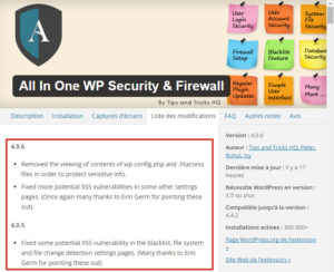 Vulnérabilité XSS dans le plugin All In One WP Security & Firewall