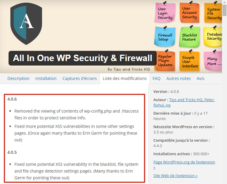 WordPress : Failles XSS dans le plugin All In One WP Security & Firewall