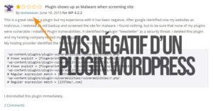 Avis négatif d'un plugin WordPress