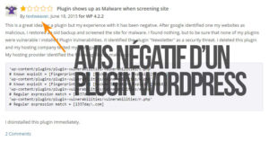 Avis négatif d'un plugin WordPress