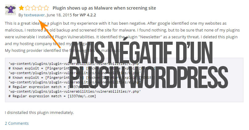 Avis d'un plugin WordPress